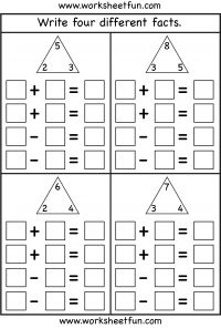 Fact Family – Complete each fact family – 4 Worksheets