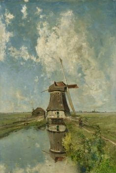 "A Windmill on a Polder Waterway, known as ""In the Month of July"" -- Circa 1889 -- Paul Joseph Constantin Gabriël -- Dutch -- Oil on canvas -- Rijksmuseum, Amsterdam, Netherlands."