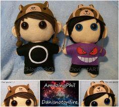 Amazingphil and Danisnotonfire chibi plushies by ~ChloeRockChick14 on deviantART