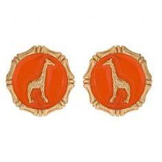 Fornash orange enamel giraffe earrings