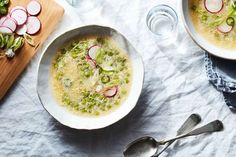 a plate of food on a table: Egg Drop Soup with Ginger, Chiles + Spring Peas