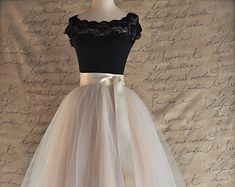 Brown and ivory tulle skirt for women. by TutusChicOriginals