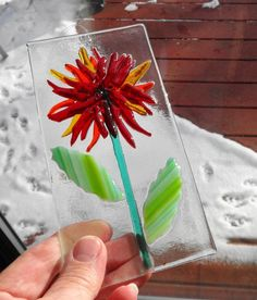Fused Glass Flower Sun Catcher Red Fused Glass Flower Blue #artsandcraftssurely,