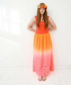 Grapefruit neon orange  pink maxi skirt with by ZIBtextile, $50.00