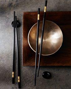 Masculine & elegance Brown metal table setting Two Chopsticks