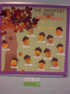 Fall bulletin board using acorns for marble painting. Teaching Strategies Gold o… – Krippe – Fall Fall bulletin board using acorns for marble painting. Teaching Strategies Gold o… – Krippe – Fall November Bulletin Boards, Thanksgiving Bulletin Boards, Kindergarten Bulletin Boards, Halloween Bulletin Boards, Preschool Bulletin Boards, Classroom Bulletin Boards, Classroom Crafts, Fall Classroom Decorations, Bulletin Boards For Fall
