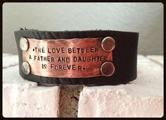 mens leather cuff bracelet father daughter quote by BlissStampedJewelry, $40.00