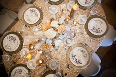 Sequined wedding, champagne wedding decor, champagne table design, christmas table - A La Fete Tradition: The Annual Christmas Tea » Ooh LaLa La Fete