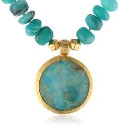 Nava Zahavi Opal Round Opal Drop Wrapped 24K Gold Necklace -