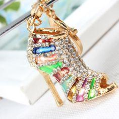 M Shoe High Heel Multicolour Charm Pendant Crystal Purse Bag Keyring Key Chain Women Jewelry Birthday Party Gift Alternative Measures