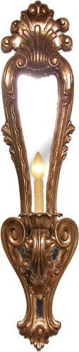 """RenID 2527 Product Detail: Intricately hand carved, single light wooden sconce in an aged gold gilt finish featuring a mirrored panel. Size:8"""" Width, 9"""" Depth, 39.5"""" Height Price:$800"""