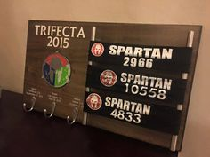 This medal display is the perfect way to show off your hard earned Trifecta medals for all to see.  Show everyone how hard you worked and
