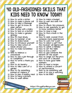 40 Old-Fashioned Skills that Kids Need to Know TODAY! - Frugal Fun For Boys and Girls 40 Old-Fashioned Skills that Kids Need to Know TODAY! - Timeless practical life skills that kids need to learn, many of which are being forgotten in our digital age. Learning Tips, Kids Learning, Teaching Kids Manners, Teaching Kids Respect, Manners For Kids, Learning Websites, Preschool Learning Activities, Educational Websites, Preschool Lessons