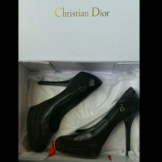 ❤Sale❤Christian Dior black suede bow heel ❤ weekend Sale ❤  Beautiful suede and leather Dior heel. 5 inch heel with 1 inch platform. Suede with leather trim. Well taken care of. Signs of wear include: light thinning of suede near big toe...see photo #2. D charm missing on 1 shoe... see photo #3. Comes in box.   No trades please   Offers welcome through offer feature Dior Shoes Heels