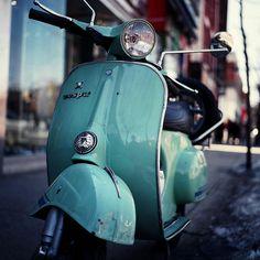 1960's turquoise Vespa.