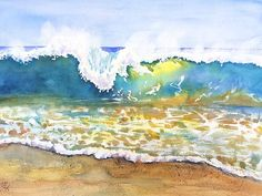 Beach Wave - Invitation to Surf watercolor painting by Carlin Blahnik. A wave crests, topped with foam spray lifted by the breeze,curls and crashes onto shallow colorful water. Yellow reflections of the sun pass through the wave. I grew up in California, spending many summers body surfing. The surf would often come in sets of seven. Seven chances to catch a perfect wave to surf before the pause.he ocean and wave motion provides endless serenity.  http://www.carlinart.com/