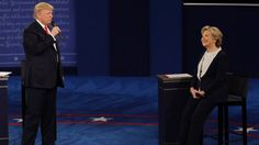 Headline: The Note: 'Limping' Towards November 8  Caption: Donald Trump speaks to Hillary Clinton during the second presidential debate at Washington University in St. Louis, Oct. 9, 2016. URL:  http://abcnews.go.com/Politics/note-limping-nov/story?id=42722999