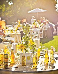 déco de table mariage jaune