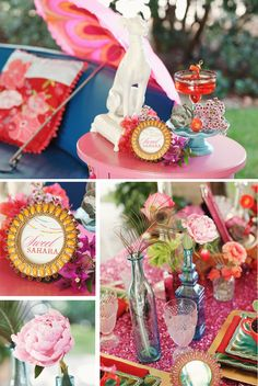 Moroccan ♥ Indian ♥ fusion ♥ wedding ♥ decor ♥ reception ♥ flowers ♥ centrepiece ♥ tablescape