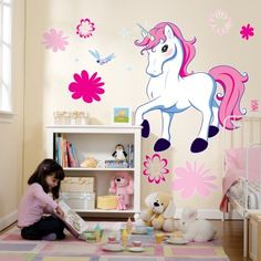 My daughter has been getting a lot of unicorn things lately. Really thinking about doing my her room a unicorn theme, this wall decal is cute!  <3