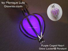Purple Caged Heart Glow Locket® Pendant
