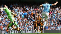 Alvaro Negredo scores after coming on as a substitute for Manchester City against Hull City.