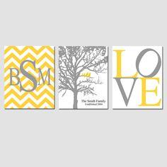 Gray, Yellow, Black, White - Chevron Monogram, Family Established Birds Tree, LOVE