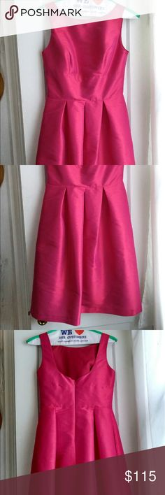 """Once worn Alfred Sung Dupioni Fit & Flare Dress WORN ONCE. Will accept respectful offers. Color is """"Sangria"""". Beautiful raw silk finish. Has pockets!! Fully lined. 100% polyester, dry clean only.  Freshly dry cleaned and ready for you to love! Alfred Sung Dresses Mini"""