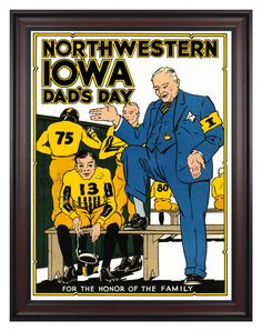 1931 Iowa Hawkeyes vs Northwestern Wildcats 36x48 Framed Canvas Historic Football Poster