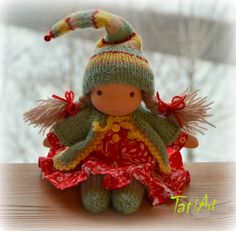 Too cute for words. LOVE the clothing! Waldorf inspired doll, 8 inch. Gnomochka. by tatiartlv Etsy.