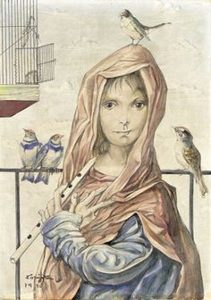 artemisdreaming:    La charmeuse d' oiseaux  Tsuguharu Foujita  .      La cage à oiseau