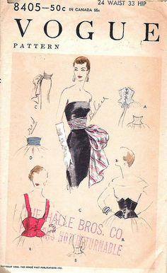 vogue 8405, corselet and sash (1956)