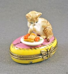 New French Limoges Box Cute Tiger Striped Tabby Kitty Cat Kitten w Food Plate | eBay