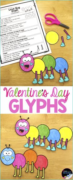 These fun Valentine's Day activities are a must have for teaching Valentine's Day! writing, glyphs, Valentine's Day worksheets and more! These spring printables are also little to no prep! Spring teaching ideas, Spring Printable Worksheets, Spring Craftivities, Valentine's Day Printables
