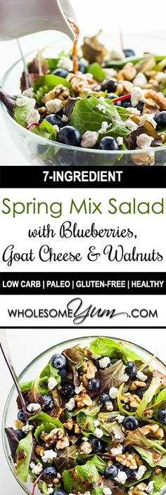 Spring Mix Salad with Blueberries Goat Cheese and Walnuts (Low Carb Gluten-fre. - keto - Spring Mix Salad with Blueberries Goat Cheese and Walnuts (Low Carb Gluten-fre. Blueberry Goat Cheese, Blueberry Salad, Blueberry Recipes, Blueberry Dressing Recipe, Salad Recipes Low Carb, Healthy Salad Recipes, Real Food Recipes, Vegetarian Recipes, Vegetarian