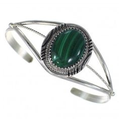 Genuine Sterling Silver Navajo Indian Malachite Cuff Bracelet RX75280
