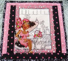 Mug Rug Snack Mat Loralie's Ethnic Girl on Vacation Hot Mat Insulated Quilted | eBay