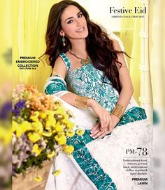 Gul Ahmed Premium Embroidered Chiffon Festive Collection 2015 PM-78