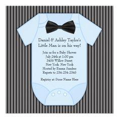 baby boy nurssery ideas bow ties | Pinstripe Black Blue Baby Boy Shower Announcement | Zazzle.co.uk