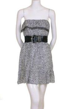 The Hanger Studded Black Wide Belt Strapless Lace Trim Ruffled Bottom Hem Animal Print Mini Dress White $17.99