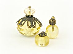 Pale Yellow Vintage Style  Doll House miniature One Inch Scale 12th Perfume Bottle Ladies Vanity Set