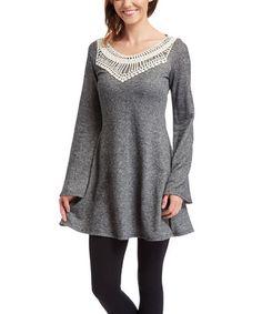 Look what I found on #zulily! Heather Charcoal Crochet-Yoke Tunic - Women & Plus #zulilyfinds
