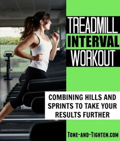 treadmill interval workout: Combining hills and sprints Lean Body Workouts, Interval Running Workouts, Best Treadmill Workout, Dumbbell Workout, Hiit, Fun Workouts, Workout Ideas, Beginner Workouts, Exercise Routines