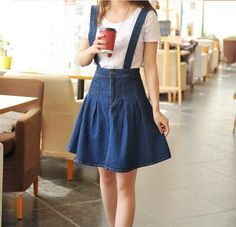 High waist denim braces skirt with detachable straps Cute Skirt Outfits, Cute Skirts, Cute Summer Outfits, Nerd Fashion, Korea Fashion, Fashion Outfits, Fila Outfit, Cute Overalls, Kids Frocks Design