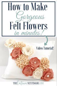 Easy Fabric Flowers, Felt Flowers Patterns, Paper Flowers Diy, Handmade Flowers, Flower Crafts, Zipper Flowers, Ribbon Flower, Felted Flowers, Cloth Flowers
