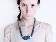 Cocoon  Necklace in steel blue with beads von ChezKristel auf Etsy, $41.00