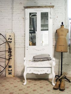Painted Cottage Chic Shabby White Farmhouse by paintedcottages, $325.00 - Perfect for Entryway.