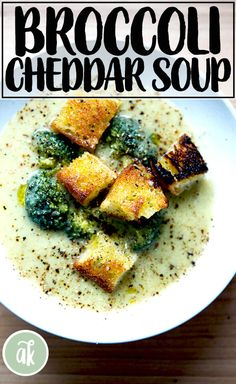 Made with puréed broccoli stalks and potato, this broccoli-Cheddar soup is so much healthier, lighter, and tastier than traditional. Healthy Broccoli Cheese Soup, Broccoli Cheddar, Healthy Soup Recipes, Broccoli Stalk, Broccoli And Potatoes, Broccoli Casserole, Kale And Spinach, Crock Pot Soup, Vegetarian Soup