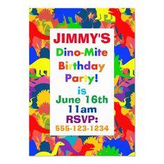 Dino-Mite Rainbow Dinosaur Tropical Jungle Party Invitation Dinosaur Birthday Cakes, Dinosaur Birthday Invitations, Dinosaur Cake, 5th Birthday, Jungle Party, White Elephant Gifts, Tropical, Rainbow, Dinosaurs
