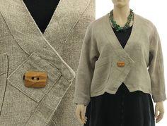 Handmade boho pointed jacket boxy shape hemp fabric von classydress, $185.00